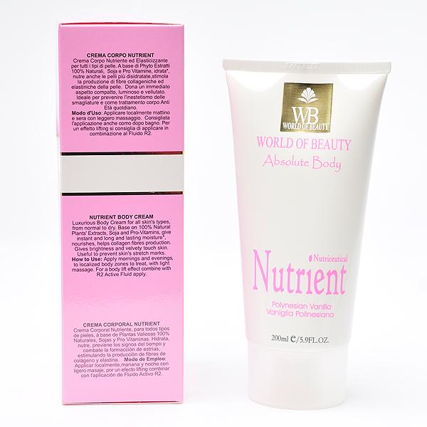 Crema antiestrías NUTRIENT BODY ingredientes de World of Beauty